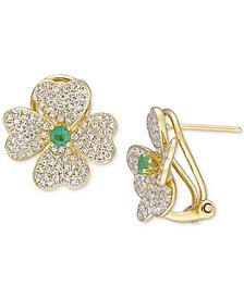 Emerald (1/5 ct. t.w.) & Diamond (1 ct. t.w.) Heart Clover Omega Back Earrings in 18k Gold