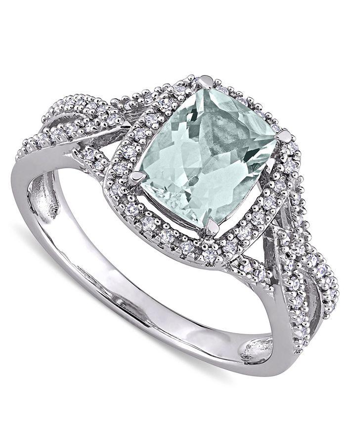 Macy's - Aquamarine (1-1/8 ct. t.w.) & Diamond (1/6 ct. t.w.) Halo Ring in 10k White Gold