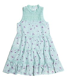 Big Girls Floral-Print Victorian Lace Yoke 2 Piece Tank Dress Set