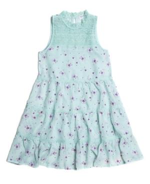 Beautees Big Girls Floral-Print Victorian Lace Yoke 2 Piece Tank Dress Set