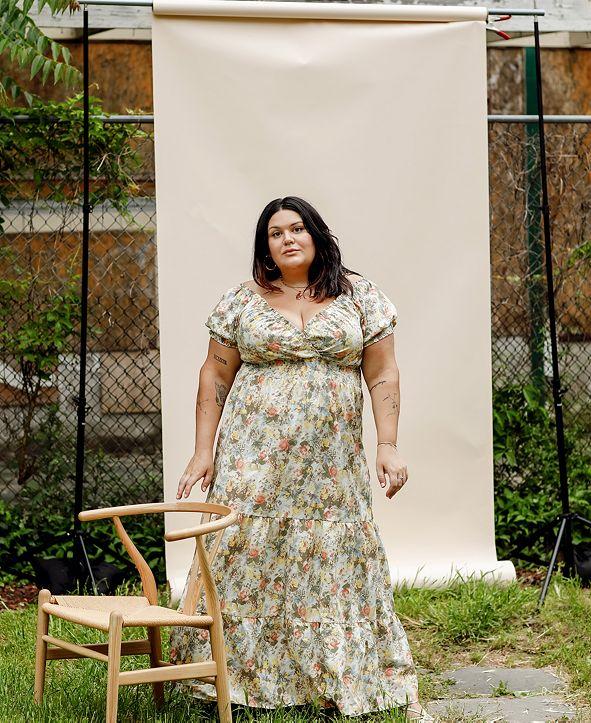 Danielle Bernstein Plus Size Poplin Midi Dress, Created for Macy's