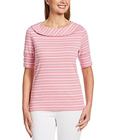 Spaced Stripe Marilyn Neck Elbow Sleeve Tee