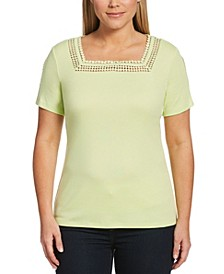 Solid Square Neck Short Sleeve Shirt with Round Lace Trim