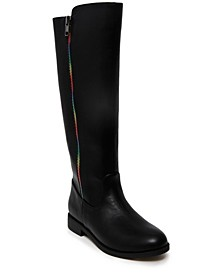 Big Girls Riding Boot with Rainbow Zipper