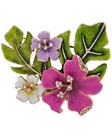 Gold-Tone Pavé Tropical Flowers Pin