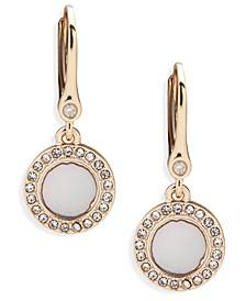 Gold-Tone Crystal Halo Drop Earrings