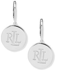 Silver-Tone Polished Logo Disc Drop Earrings