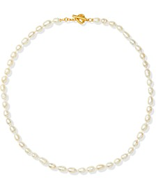 "Gold-Tone Freshwater Pearl (5x7mm) 17"" Collar Necklace"