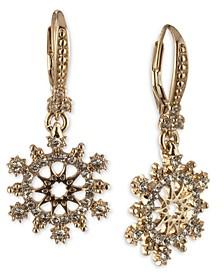 Gold-Tone Crystal Openwork Leverback Drop Earrings
