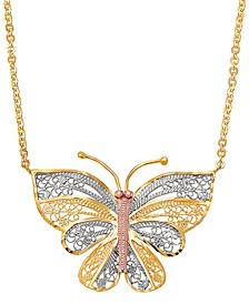 "Lacy Tricolor Butterfly 17"" Pendant Necklace in Sterling Silver, 18k Gold-Plate & 18k Rose Gold-Plate"