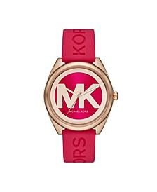 Women's Janelle Three-Hand Pink Silicone Watch 42mm MK7142