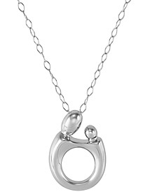 "Mother & Child Abstract 18"" Pendant Necklace in Sterling Silver"