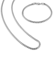 """2-Pc. Set Box Link 22"""" Chain Necklace and Bracelet in 14k Gold-Plated Sterling Silver, Created for Macy's (Also available in Sterling Silver)"""