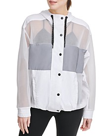 Sport Mesh-Blocked Hooded Jacket
