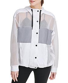 DKNY Sport Mesh-Blocked Hooded Jacket