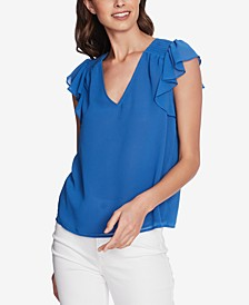 Smocked-Shoulder Ruffled Top