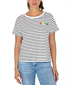 Juniors' Striped Love T-Shirt