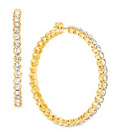 """Gold-Tone Large Crystal Hoop Earrings, 2.16"""""""