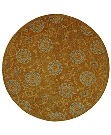 Anatolia An537 Gold and Blue 6' x 6' Round Area Rug
