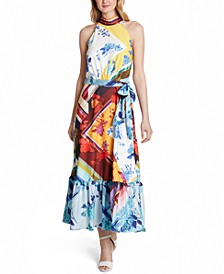 Sleeveless Mock-Neck Printed Maxi Dress