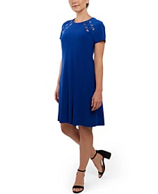 Grommet Fit & Flare Dress