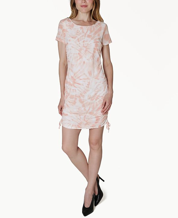 Ultra Flirt Juniors' Tie-Dyed Ruched Shift Dress