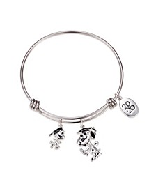 Graduation Adjustable Bangle Bracelet in Stainless Steel for Unwritten Silver Plated Charms