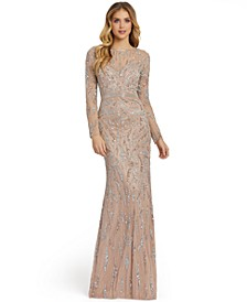 Long-Sleeve Embellished Sequin Gown
