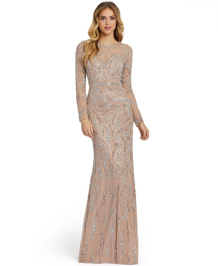 MAC DUGGAL - Long-Sleeve Embellished Sequin Gown