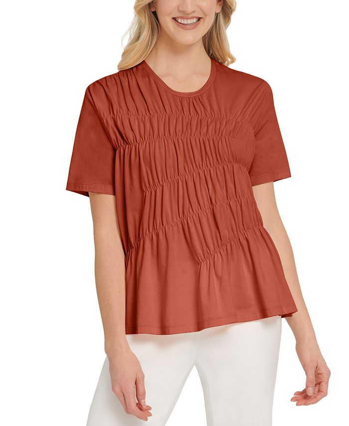 DKNY - Ruched Short-Sleeve Top