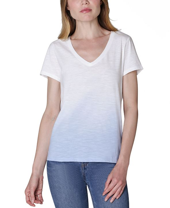 Ultra Flirt Juniors' V-Neck Dip-Dyed T-Shirt