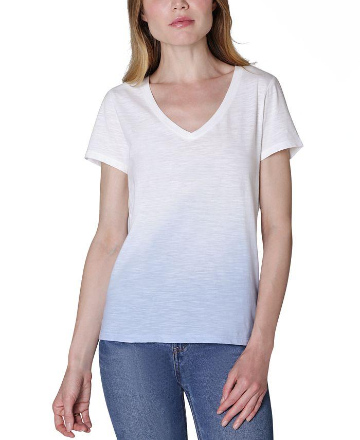 Ultra Flirt - Juniors' V-Neck Dip-Dyed T-Shirt