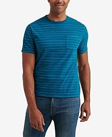 Men's Short Sleeve Sunset Wave Stripe Crew Neck T-shirt