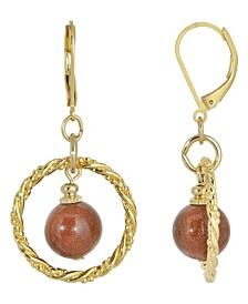 Gold-Tone Genuine Stone Sandstone Round Stone Hoop Earrings