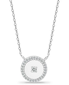 """Cubic Zirconia Polished Halo Pendant Necklace in 18k Gold-Plated Sterling Silver, 16"""" + 2"""" extender, Created for Macy's"""