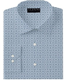 Men's Big & Tall Classic/Regular-Fit Performance Stretch Geo-Print Dress Shirt, Created for Macy's