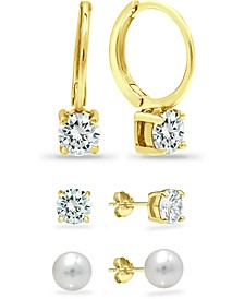 3-Pc. Set Cultured Freshwater Pearl (6mm) & Cubic Zirconia Hoop & Stud Earrings in 18k Gold-Plated Sterling Silver, Created for Macy's