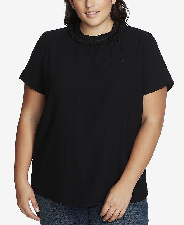 CeCe Women's Plus Short Sleeve Blouse with Pleated Neckline