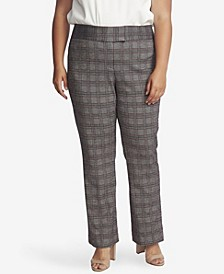 Women's Plus Boot Leg Plaid Pants
