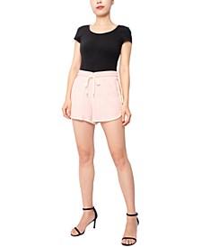 Juniors' Cotton Knit Contrast-Trim Shorts