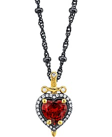 """Disney's Cubic Zirconia Snow White Dagger Heart 20"""" Pendant Necklace in Black Rhodium- & Gold-Plated Sterling Silver"""