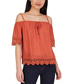 Juniors' Crochet-Trim Cold-Shoulder Top