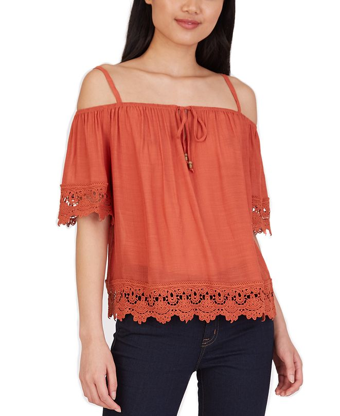 BCX Juniors' Crochet-Trim Cold-Shoulder Top