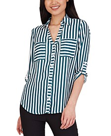 Juniors' Striped Collared Shirt