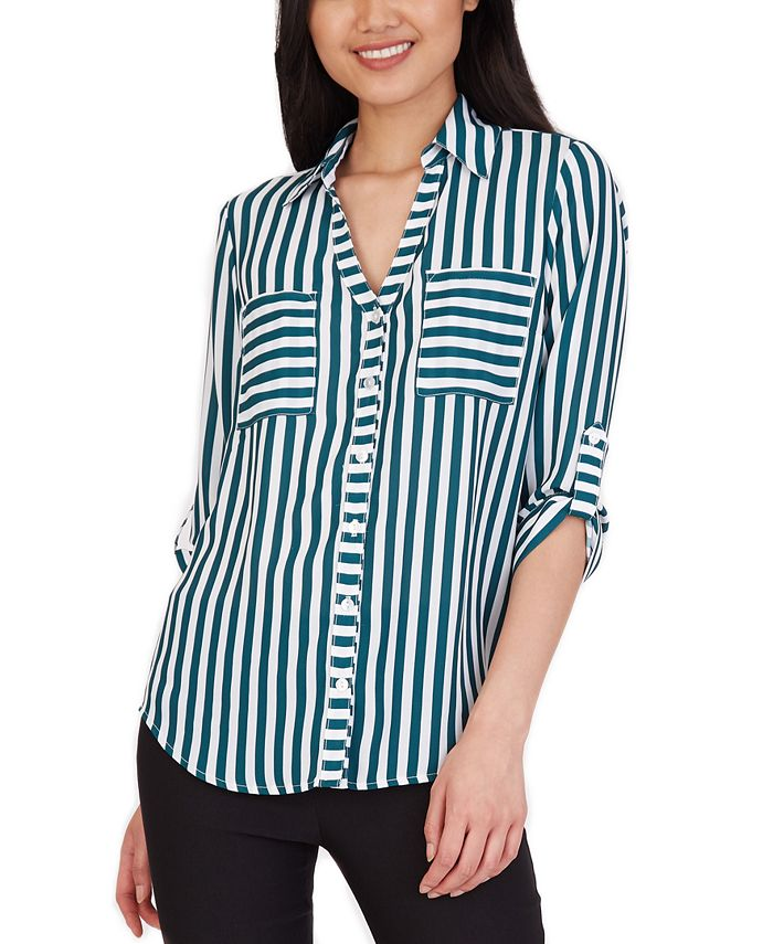 BCX - Juniors' Striped Collared Shirt