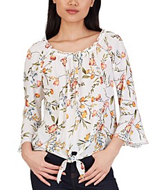 Juniors' Floral-Print Bell-Sleeve Top