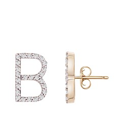 Diamond Initial Stud Earrings (1/10 ct. t.w) in 14k Gold