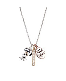 "Fine Silver Plated Tri-Tone ""Friends Forever"" Snoopy and Woodstock Crystal Pendant Necklace, 16""+2"" for Unwritten"