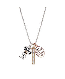 "Fine Silver Plated Tri-Tone Peanuts ""Friends Forever"" Snoopy and Woodstock Crystal Pendant Necklace, 16""+2"" for Unwritten"