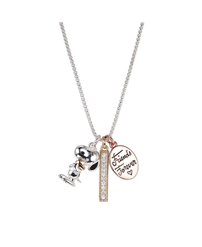 """Peanuts - Fine Silver Plated Tri-Tone  """"Friends Forever"""" Snoopy and Woodstock Crystal Pendant Necklace, 16""""+2"""" for"""